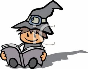 A cartoon of child. Witch clipart reading