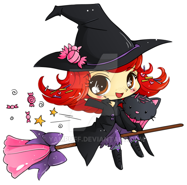 Witch clipart red hair. Candy minichibi commish by