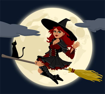 Witch clipart red hair. Free of halloween witches