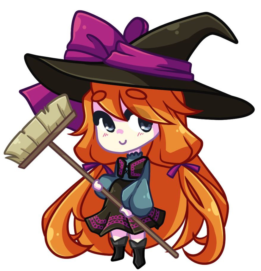 Witch clipart red hair. Chibi video by looji