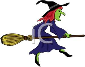 Witch clipart red hair. A cartoon of green