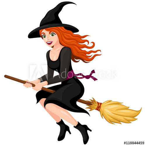 Vector illustration of a. Witch clipart red hair