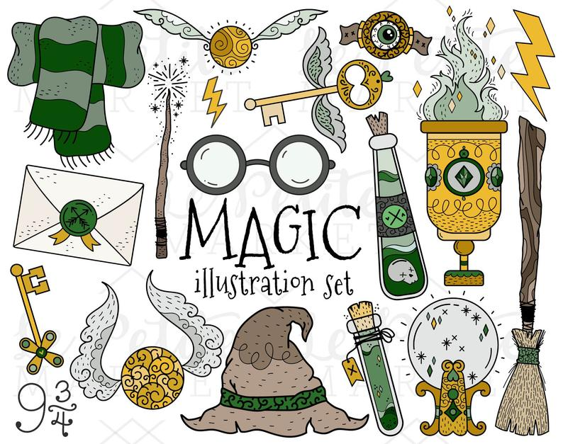 Wizard set house colors. Witch clipart school