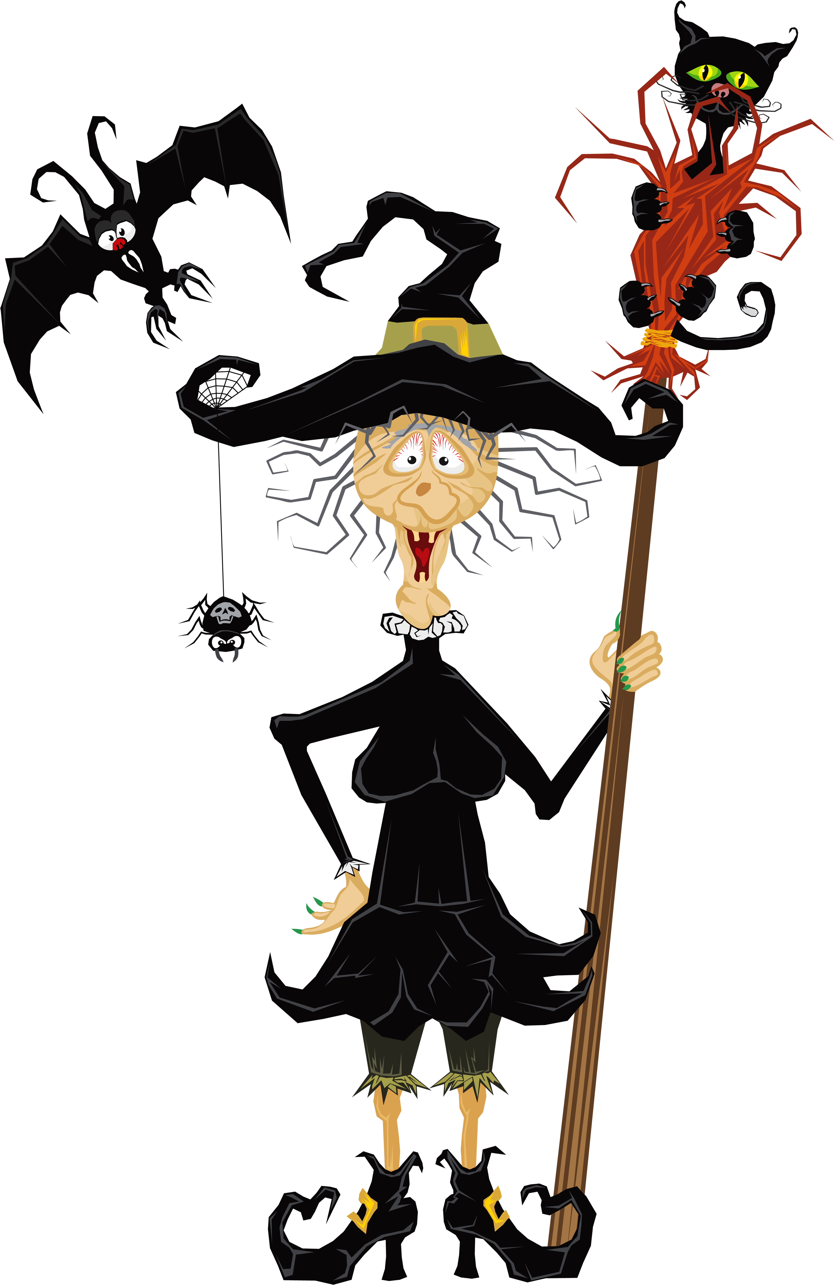 Halloween creepy clip art. Witch clipart short