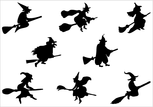 Free flying silhouette download. Witch clipart simple