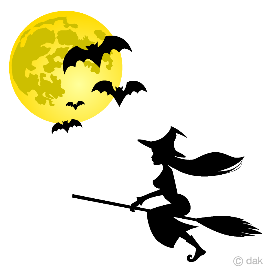 Flying and bats free. Witch clipart sky