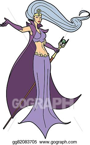 Witch clipart sorceress. Vector art beautiful barbarian