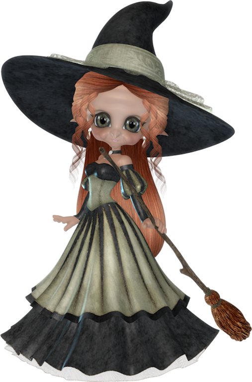 Special halloween tubes poser. Witch clipart stew