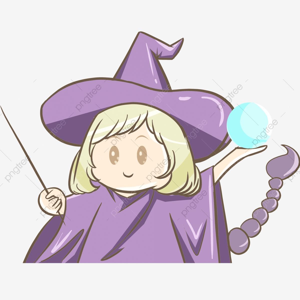 Cute purple little decorative. Witch clipart stick