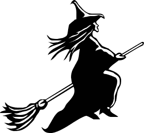 Free public domain halloween. Witch clipart stick