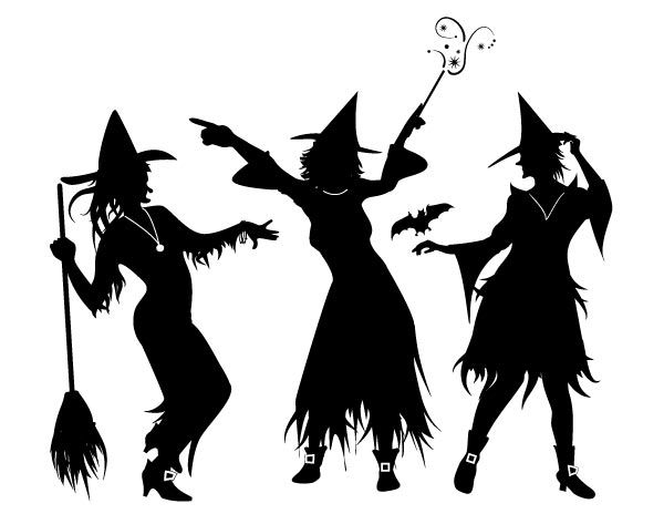 Witch clipart three witch. Silhouette collection graphics