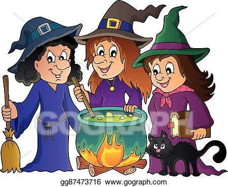Vector art witches theme. Witch clipart three witch