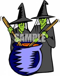 Witch clipart two. Witches stirring a cauldron