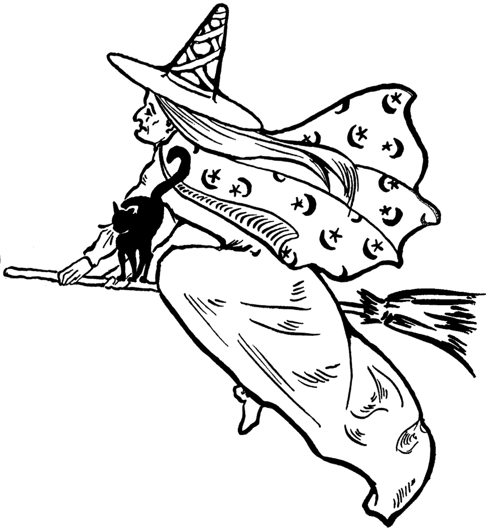 Free flying clip art. Witch clipart victorian