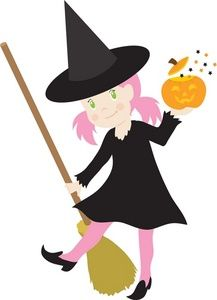 Image of a young. Witch clipart witch costume