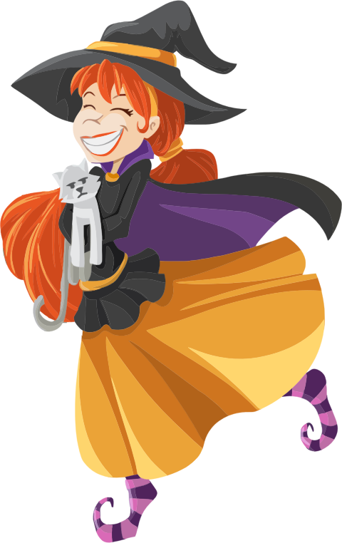Witch clipart witch costume. Happy cartoon isolated medium