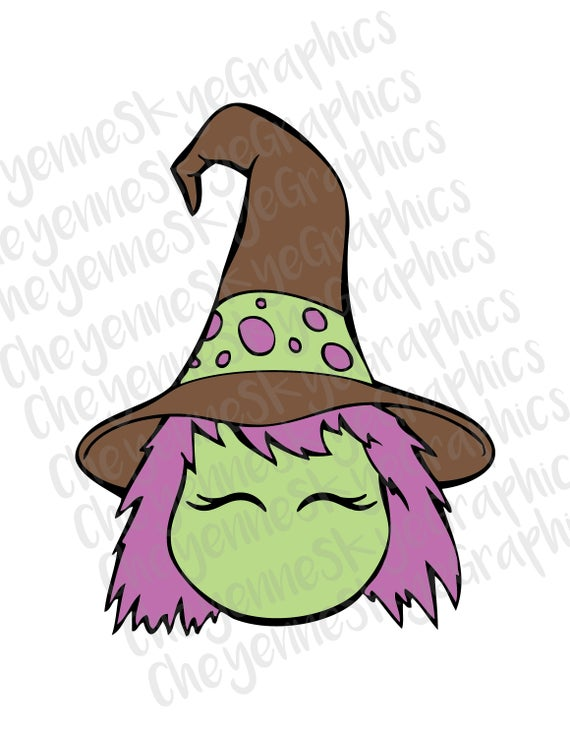 Cute svg png and. Witch clipart witch head