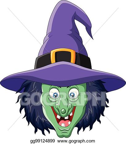 Vector cartoon isolated on. Witch clipart witch head