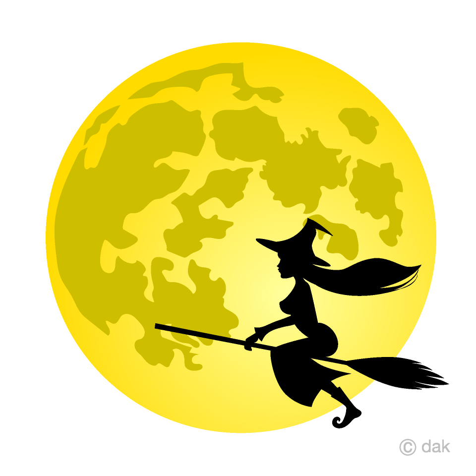Full and flying free. Witch clipart witch moon