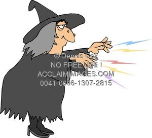 Illustration casting a . Witch clipart witch spell