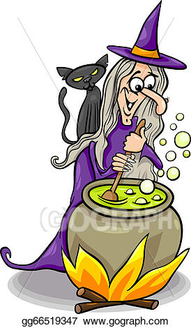 Witch clipart witch spell. Vector art casting a