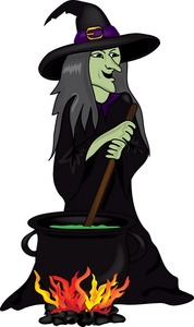 Evil stirring her cauldron. Witch clipart witch spell