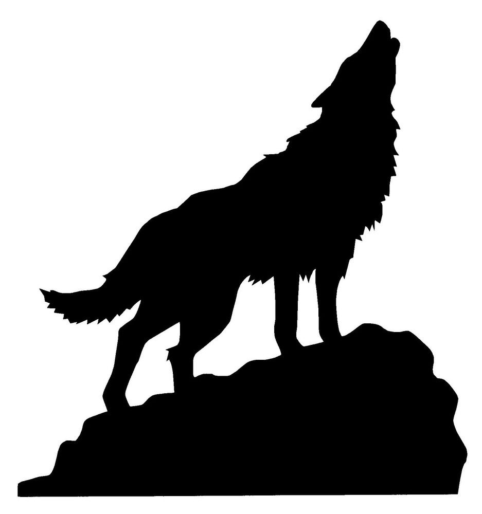 Wolf silhouette howling on. Wolves clipart