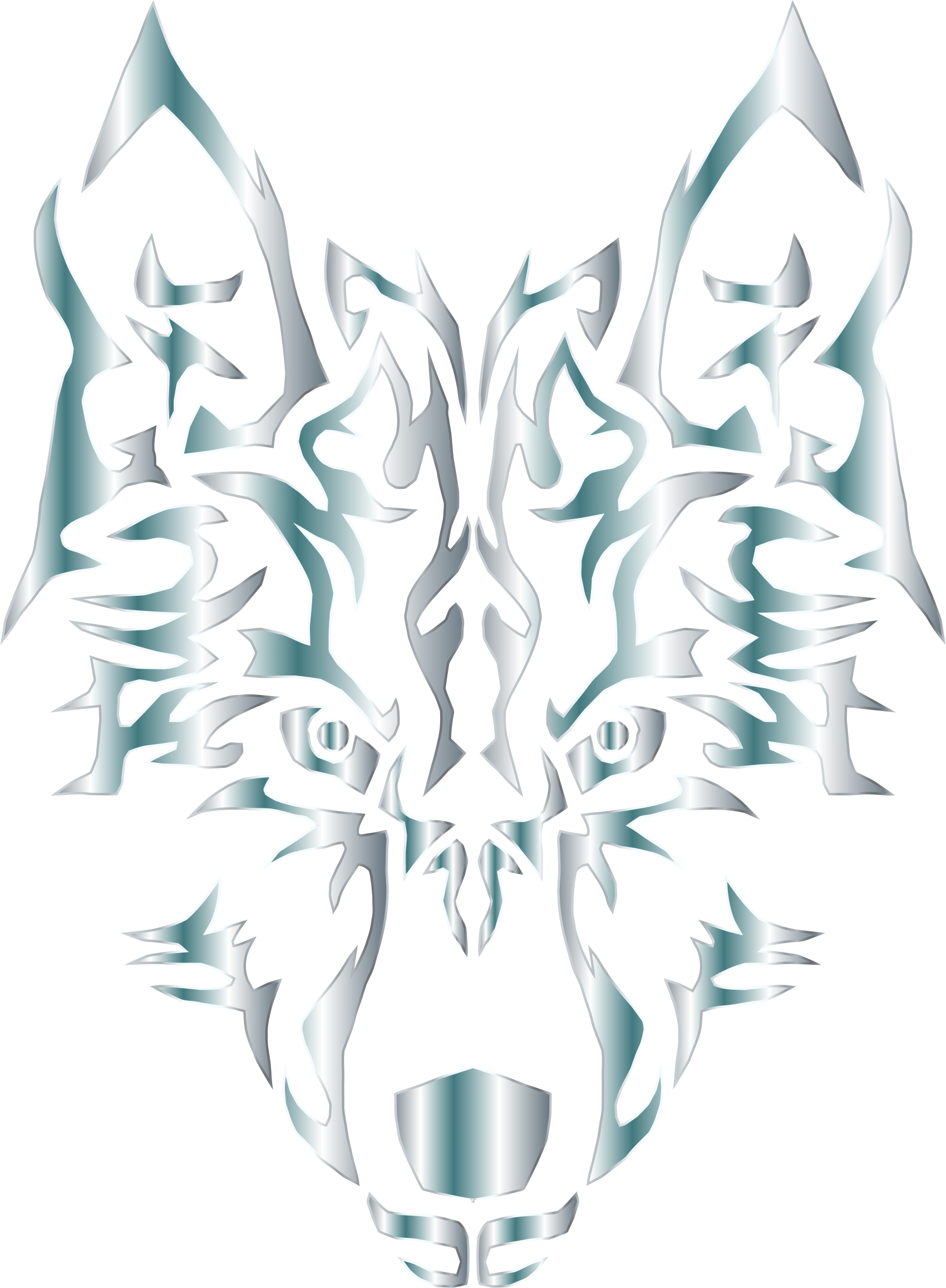 Silver symmetric tribal no. Wolf clipart abstract