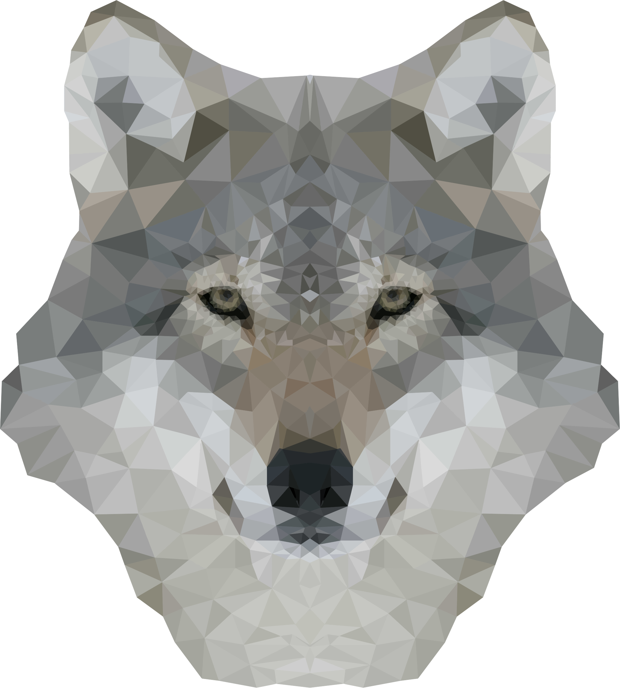 Low poly gray big. Wolf clipart abstract