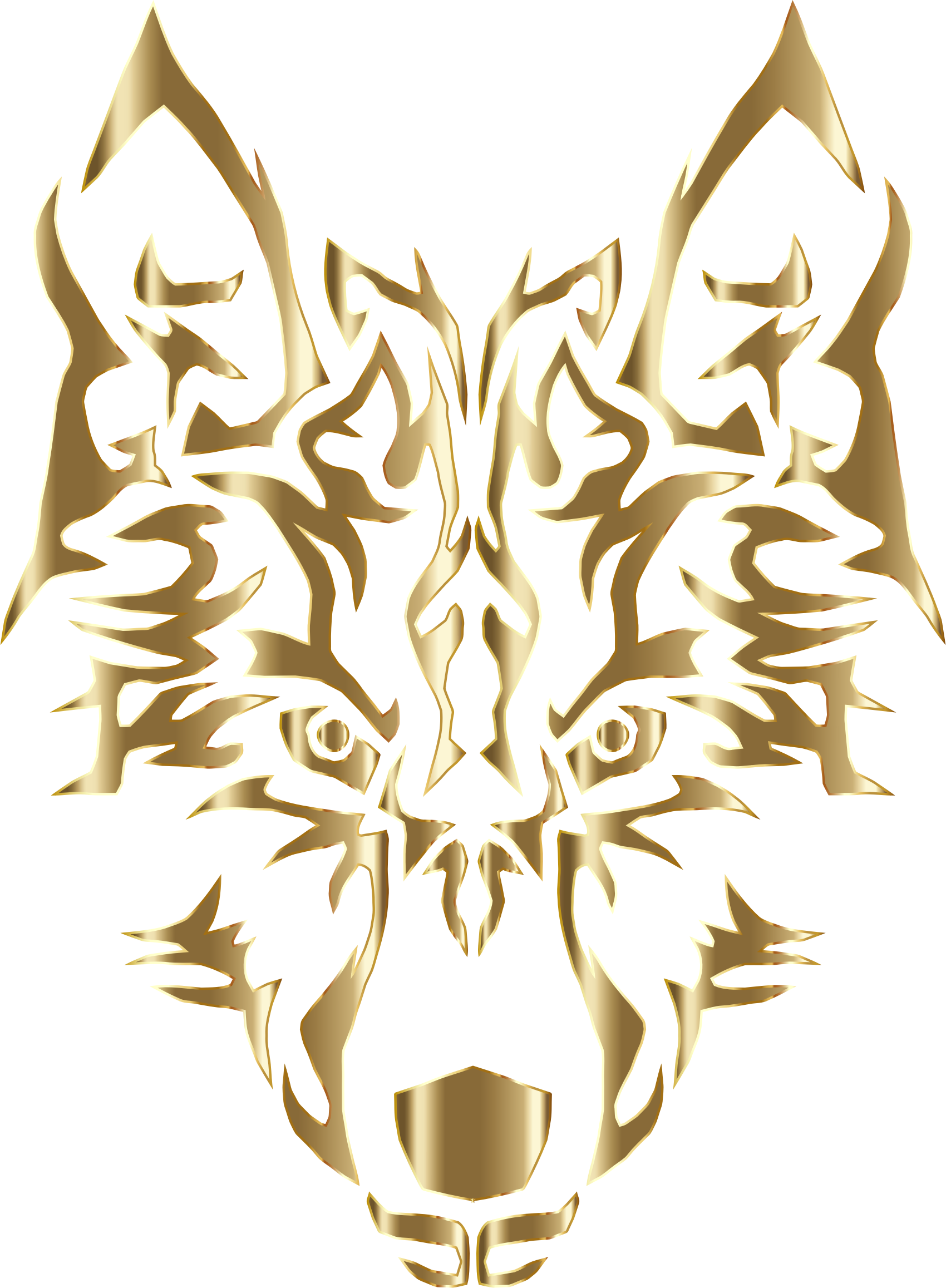 Wolf clipart abstract. Polished copper symmetric tribal