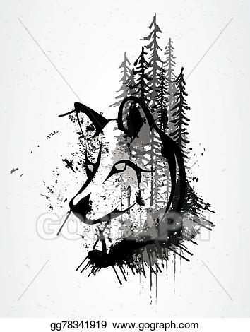 Eps illustration grunge wolf. Wolves clipart abstract