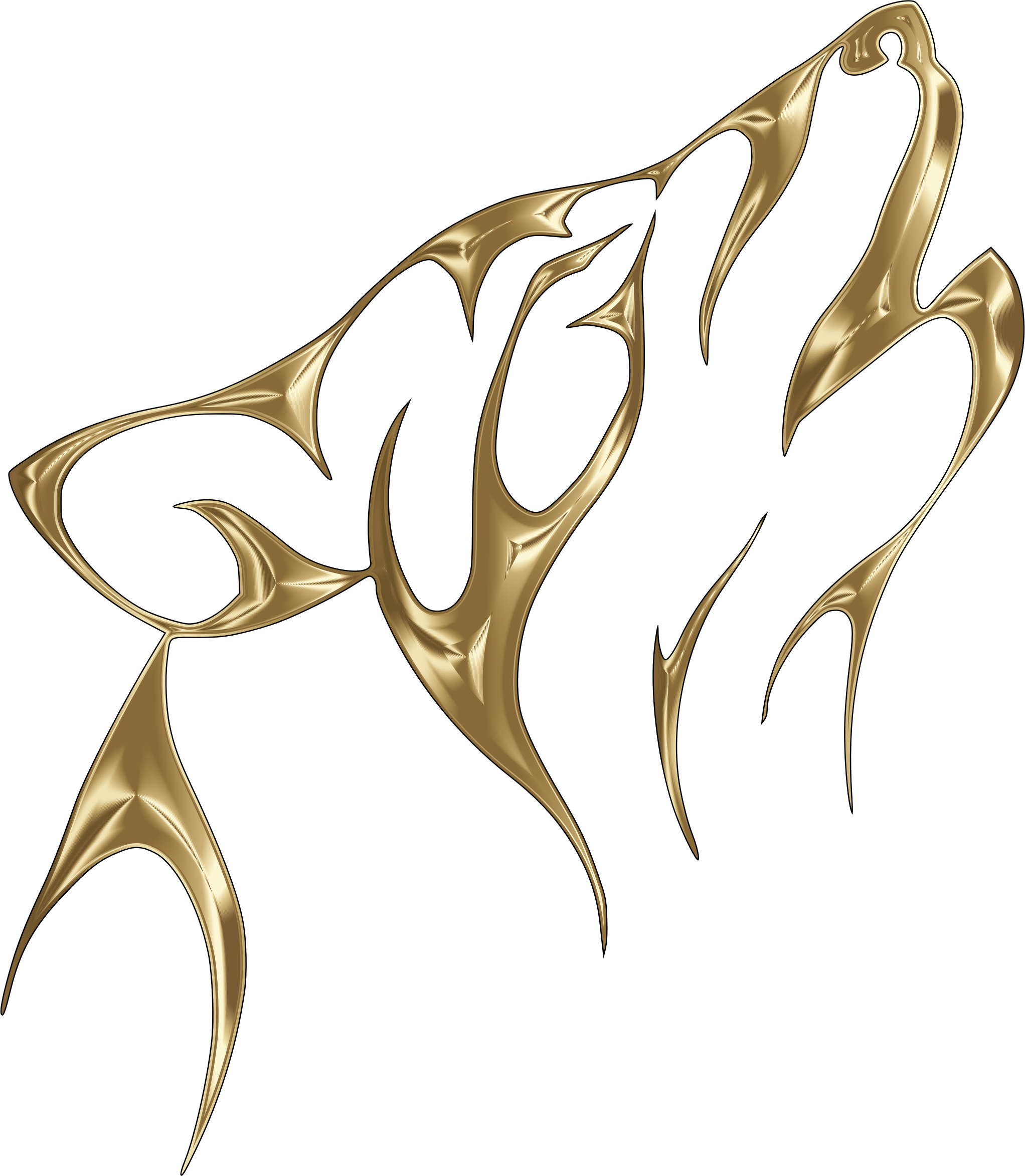 Polished copper tribal no. Wolf clipart abstract