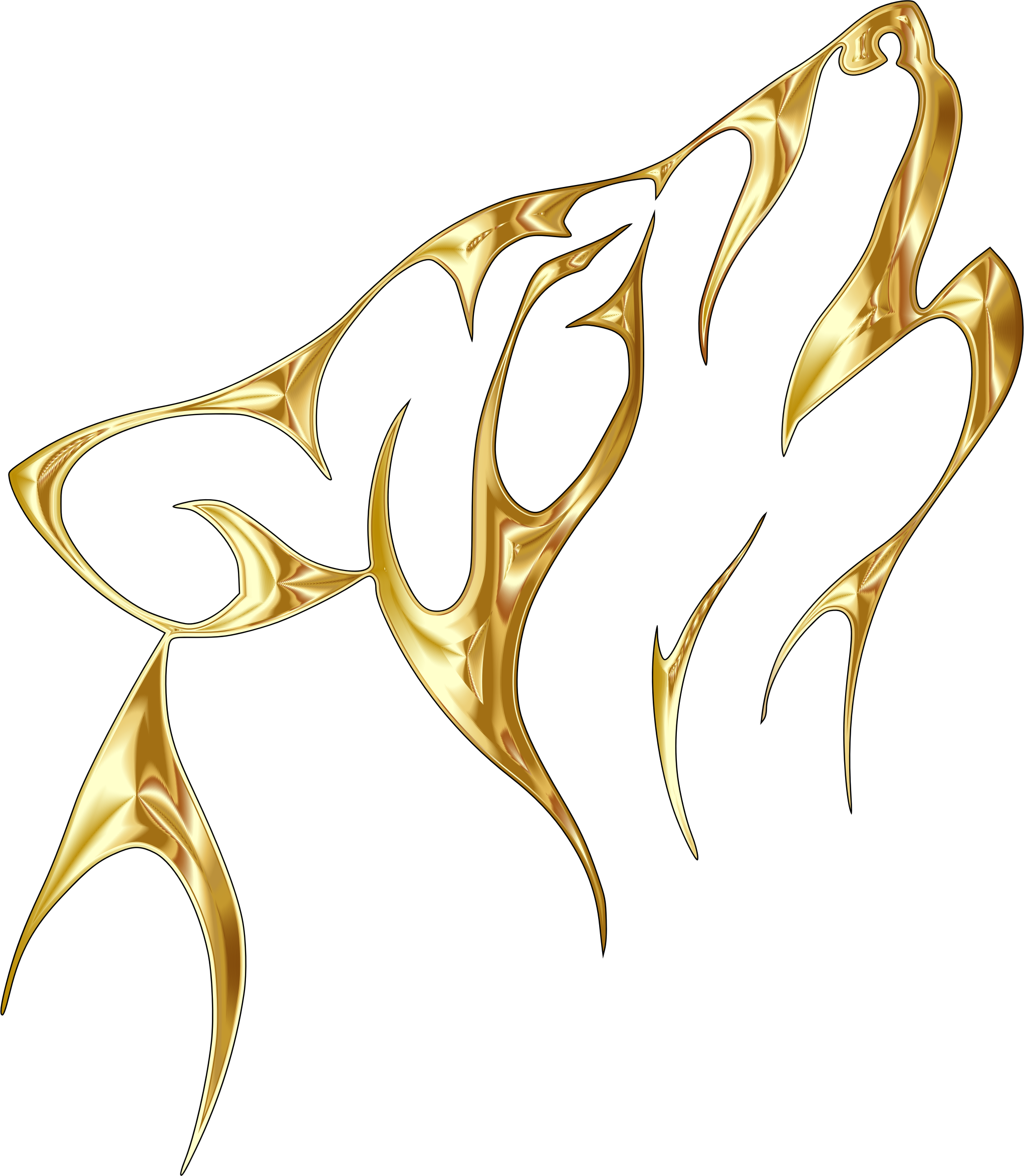 Gold tribal no background. Wolf clipart abstract