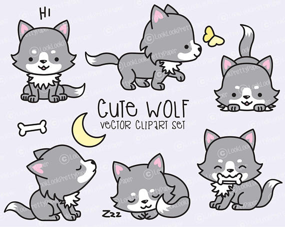 Wolves clipart adorable. Premium vector kawaii wolf
