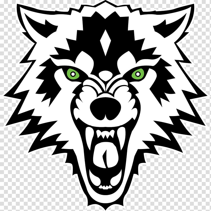 Wolves clipart bear. Black and white wolf
