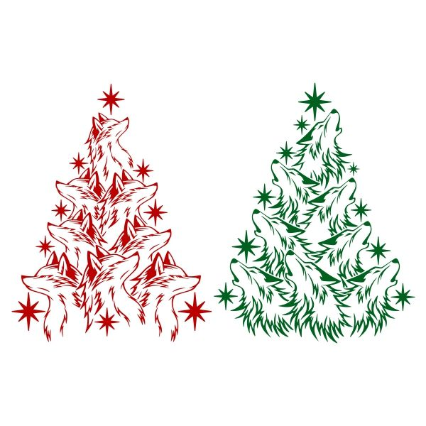 Wolf clipart christmas. Tree svg cuttable design
