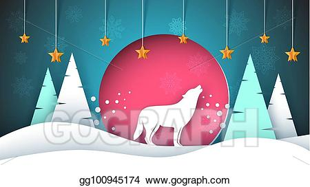 Wolf clipart christmas. Vector lone howls to