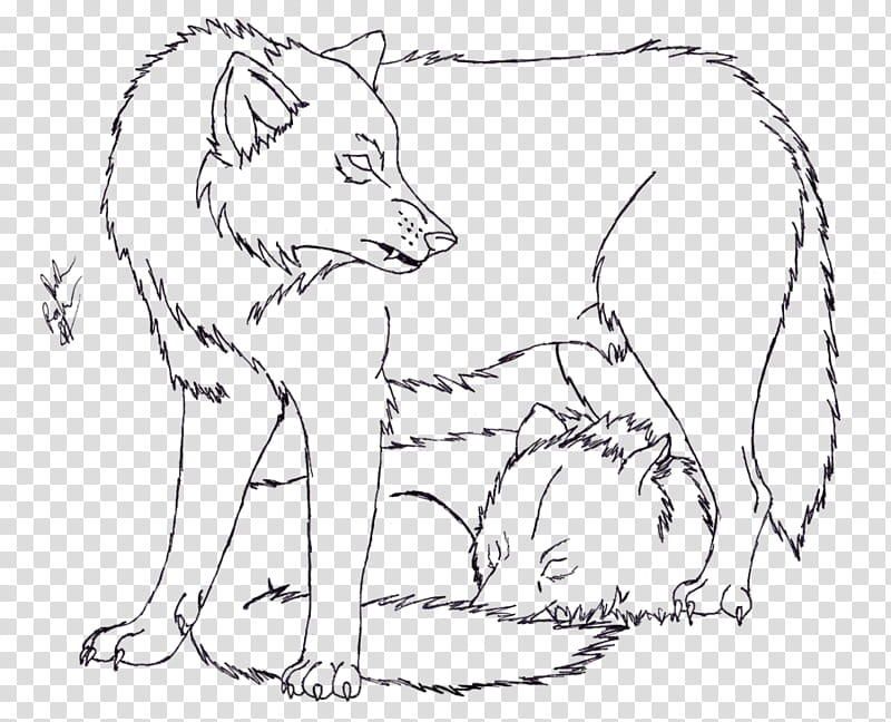 Wolves clipart couple. Wolf lineart free gray