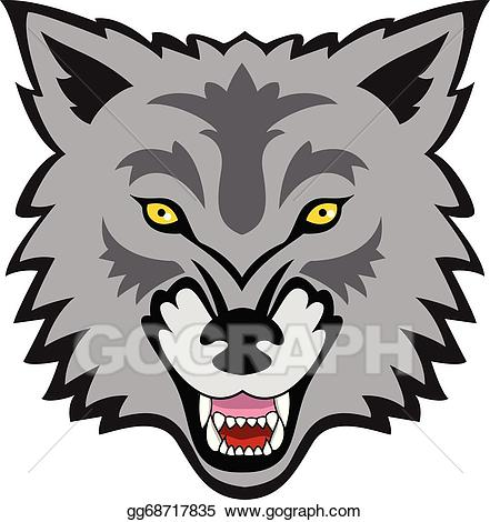 Wolf clipart face. Eps illustration vector gg