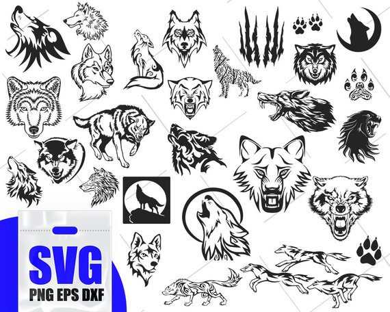 Svg face wolves howling. Wolf clipart file