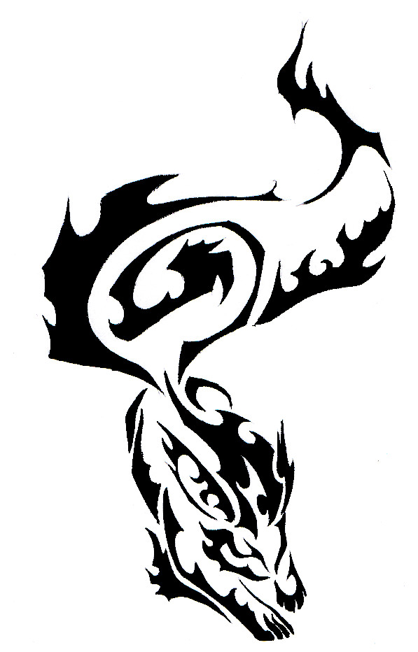 Wolf clipart fire. Tribal tattoo by canyx