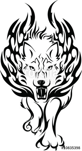 Wolf clipart fire. Stock photo and royalty