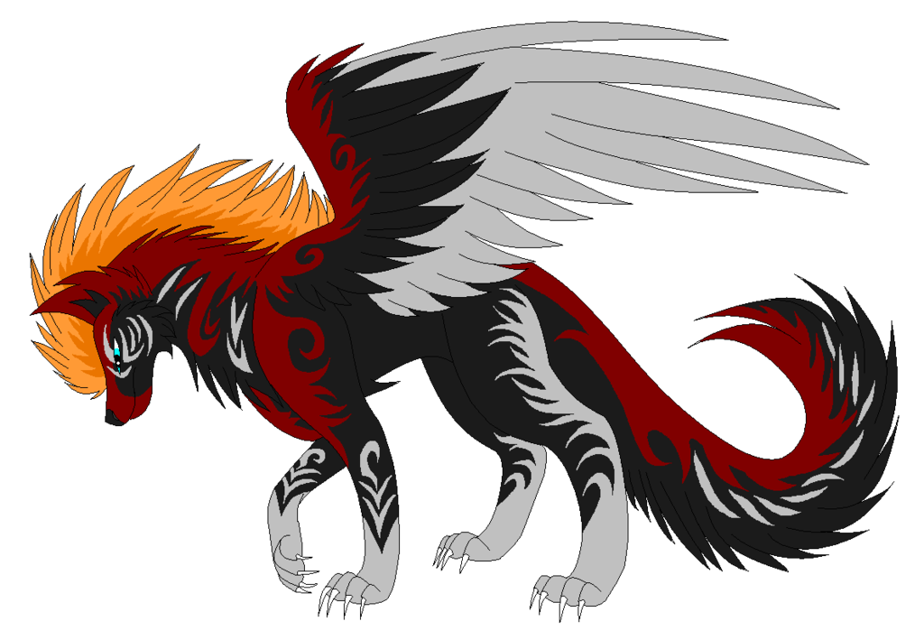 Dog pack puppy wing. Wolf clipart fire