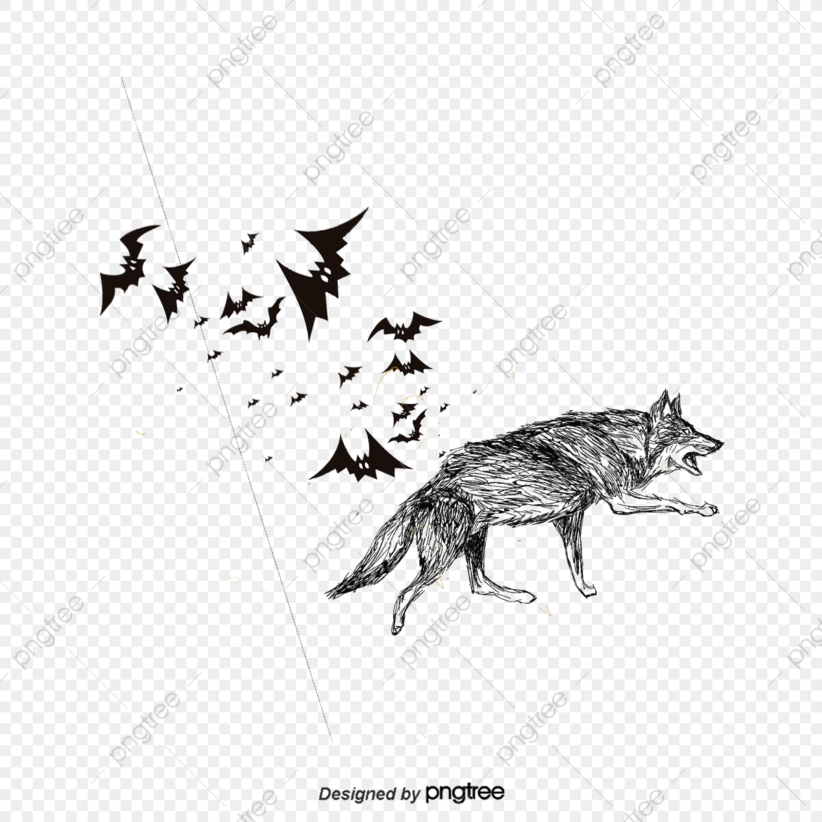 Creative wolf and bat. Wolves clipart flying