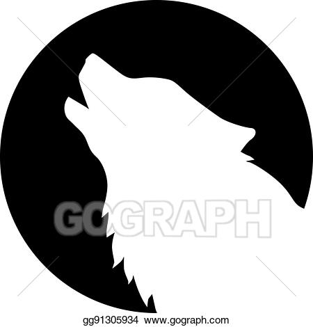 Vector art head howling. Wolf clipart front