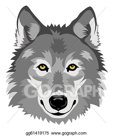 Wolf clipart front. Vector stock illustration gg
