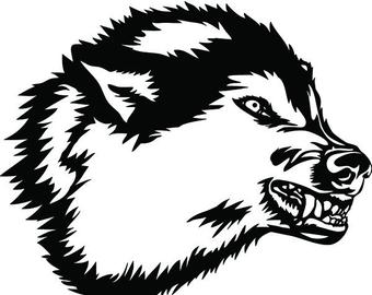 Wolf clipart growl. Growling svg etsy