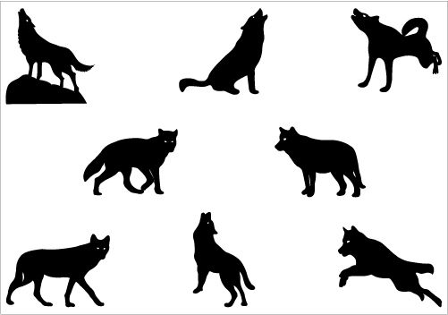 Wolf clipart hill. Silhouette vector graphics clip