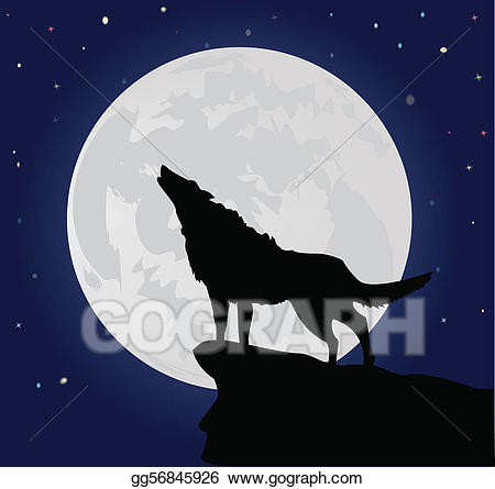 Vector art lonely eps. Wolf clipart hill