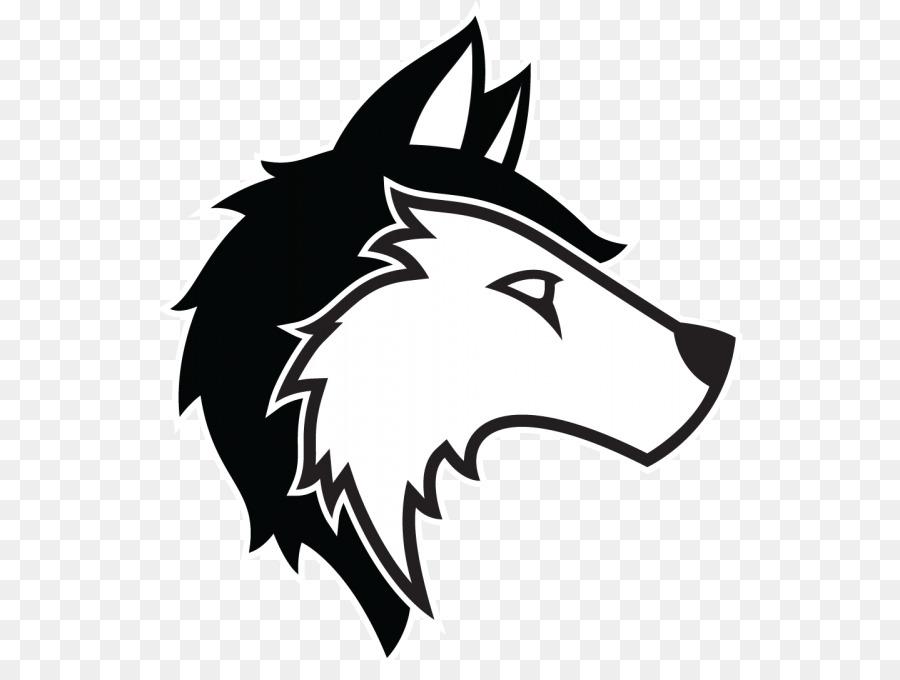 Wolf clipart husky. Black line background white